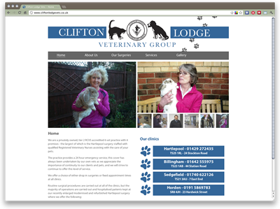 Clifton Lodge Veterinary Group website